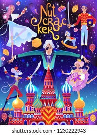 Beautiful vector illustration. Poster with characters from Nutcracker story. Cute cartoon elements from winter tale and ballet.