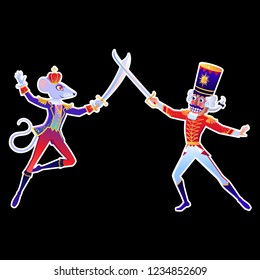 Beautiful vector illustration. Poster with Nutcracker and Mouse King. Cute cartoon element from winter tale and ballet.