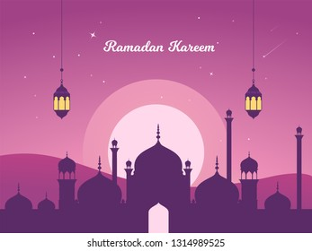 Beautiful Vector Illustration Ramadan Kareem The Holy Month Muslim Feast Greeting Card with night, Lantern, crescent moon and mosque. Flat landing page style vector.