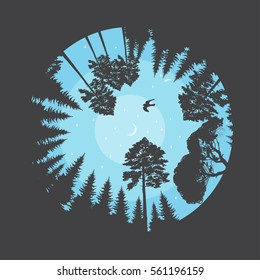 Beautiful vector illustration with silhouettes of coniferous forest, bird under trees in evening sky with moon and stars. Round composition, view looking up from the ground level