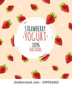 Beautiful vector illustration with strawberry and milk splashes. Yogurt logo on the pink strawberry background.