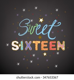 Beautiful vector illustration of a sweet sixteen birthday party composition. Handdrawn typography in a shape of colorful cakes and whipped cream. Ideal for placards, postcards, and invitations design.