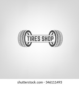 Beautiful vector illustration of the tire shop logotype. Modern graphic style. Transportation automotive concept. Digital pictogram collection