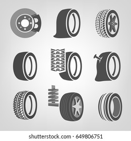 Beautiful vector illustration of a tire shop images useful for icon and logotype design on a light background. Realistic graphic style. Transportation automotive concept. Digital pictogram collection