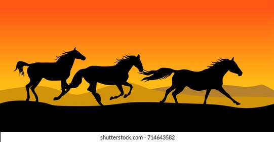 A beautiful vector image of a silhouette horse herd running in yellow-orange sunset throug nature.
