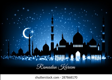 Beautiful vector landscape greeting card design template on Generous Ramadan with mosque silhouettes on blue night sky, moon and stars. The meaning of Ramadan Kareem is Ramadan The Generous Month