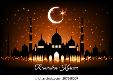 Beautiful vector landscape greeting card design template on Generous Ramadan with mosque silhouettes on glowing night sky, moon and stars. The meaning of Ramadan Kareem is Ramadan The Generous Month