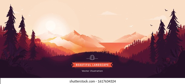 Beautiful vector landscape illustration - Peaceful warm sunrise over mountains, ocean and forest. Travel, hiking, outdoors and adventure concept. Use as background or wallpaper.