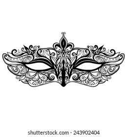 Beautiful vector mask illustration isolated on white background. Elegant and ornate carnival mask with swirls and lace. Black and white.