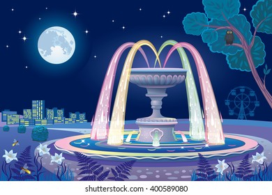 Beautiful vector night landscape with a luminous fountain and the moon