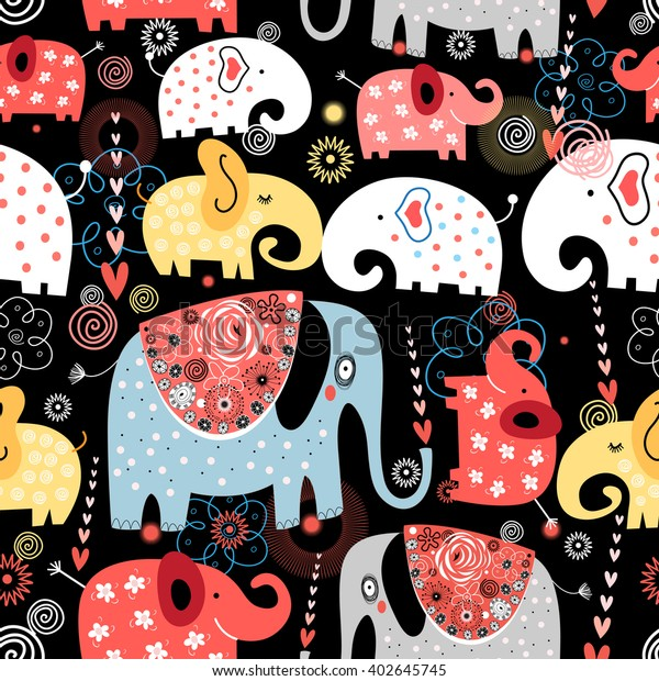 Beautiful vector pattern of colorful elephants on black background