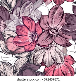 Beautiful vector pattern with magnolia flowers plants. Ideal for fabric prints patterns