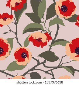 Beautiful vector pattern with nice color flowers.