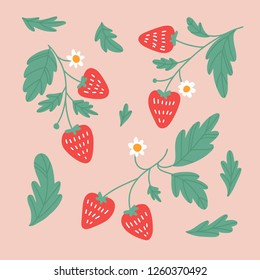 Beautiful vector pattern strawberry. Hand drawing. Vector illustration. Background.
