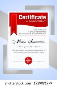 Beautiful vector red certificate template