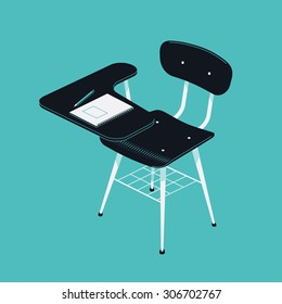 Beautiful Vector Retro School Writing Desk Chair | Classroom Scholar Stool  With Copybook And Pencil On