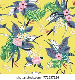 Beautiful vector seamless beautiful artistic bright tropical pattern with exotic forest. Colorful original stylish floral background print, bright rainbow colors on vivid yellow background.