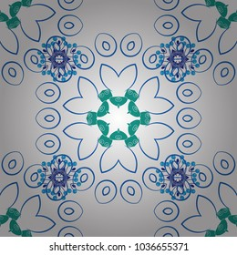 Beautiful vector seamless flower pattern in stained-glass window style (blue, green and white colors). You can use it for invitations, postcards, cards, wallpapers and so on.