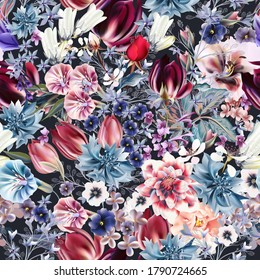 Beautiful vector seamless flower pattern in vintage style with tulips, bells, cornflowers, roses, lilac