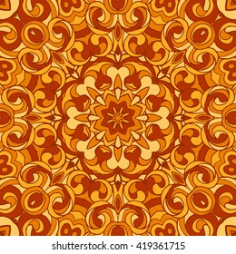 Beautiful vector seamless multicolored concentric pattern in oriental style. Bright saturated colors are perfect for printing on silk scarves, bandanas, web design and packaging design.