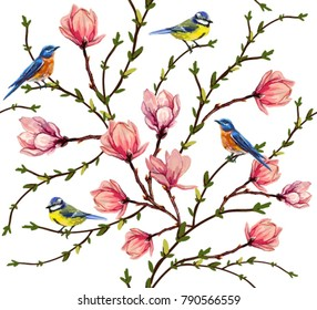 Beautiful vector seamless pattern with birds, tropical japanese flowers, magnolia flowers,  spring wallpaper, branches. Perfect for wallpapers, web page backgrounds, surface textures, textile.
