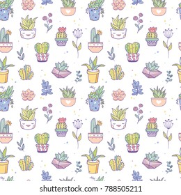 Beautiful vector seamless pattern of cactuses and succulents