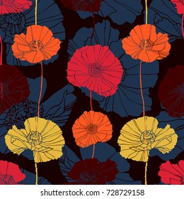 Beautiful vector seamless pattern with colorful flowers poppies. Can be used for printing on paper, suitable for festive invitations, fashion industry, textile, stickers and other.
