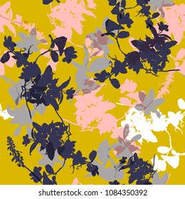 Beautiful Vector seamless pattern with hand drawing wild botanical and flowers, colorful  illustration, floral elements, for fasshion fabric and all prints on yellow background.