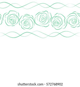 Beautiful vector seamless pattern in horizontal small abstract white and green rose flowers. Small colorful flowers with place for your text. Small cute simple spring stylized rose flowers.