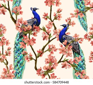 Beautiful vector seamless pattern with peacock tropical japanese flowers, tree, spring wallpaper, branches. Perfect for wallpapers, web page backgrounds, surface textures, textile.