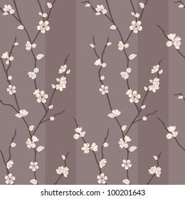 Beautiful vector seamless pattern with sakura branches