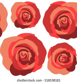 Beautiful vector seamless pattern in small abstract red rose flowers. Small colorful flowers. White background. Small cute simple spring stylized rose flowers.