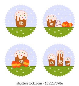 Beautiful vector set with easter cake and colorful eggs for web background design. Vector flat illustration set. Happy easter concept. Festive vector illustration.