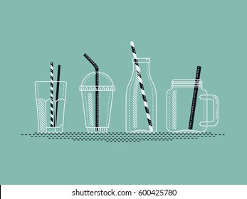 Beautiful vector set of empty jars, bottles and glasses for cocktail, juice or smoothie. Take away bottles, jars and cups with drinking straws. Ideal for smoothie and pressed juice bar menu design