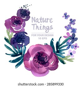 Beautiful vector set flowers and twigs in a watercolor style. Handmade. Spring design for invitation, wedding or greeting cards.