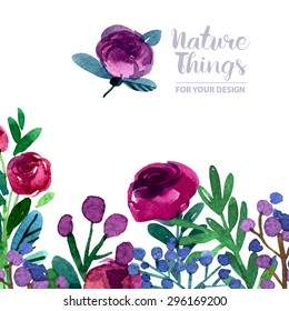 Beautiful vector set flowers and twigs in a watercolor style. Handmade. Spring design for invitation, wedding or greeting cards. Vector illustration.