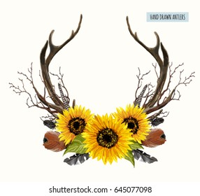Beautiful vector set of horns. Hand drawn boho chic style design elements with deer antler, sunflowers, branches, feathers  isolated on white background