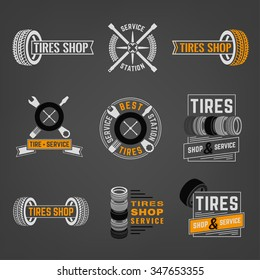 Beautiful vector set of the tire shop and service logotypes. Modern graphic style. Transportation automotive concept. Digital pictogram collection useful for automobile industry design
