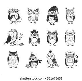 Beautiful vector set of twelve owls. Cute cartoon characters