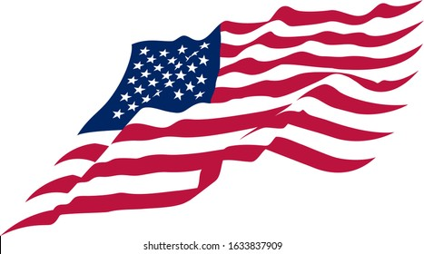 Beautiful vector star striped abstract USA flag waving on a white background