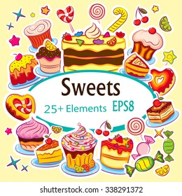 """Beautiful Vector Sticker Set """"Holiday Sweets"""""""