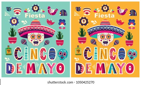 Beautiful vector templates for Mexican holiday 5 may Cinco De Mayo. Vector template with traditional Mexican symbols skull, flowers, red pepper