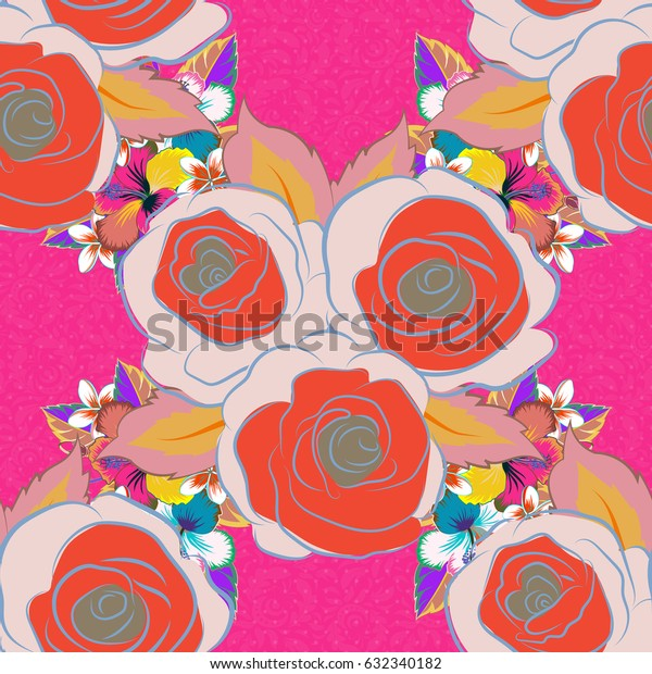 Beautiful vector texture. Seamless pattern with cute flowers in pink, blue and orange colors. Spring vintage floral background.