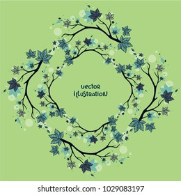 Beautiful vector wreath with elegant branches on light green background. Floral vector illustration. Design for greeting card, invitation, season decoration.