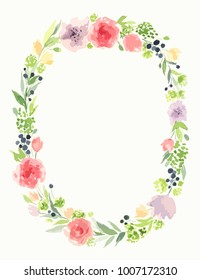 Beautiful vector wreath. Elegant floral composition with bright colorful flowers, petals and leaves. Design for invitation, wedding or greeting cards. Vector flowers set. Eps10 illustration.