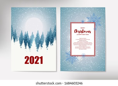 Beautiful vertical Christmas greeting card with Christmas trees on bright blue background with backside. Place for text. Vector illustration with hand drawn elements.