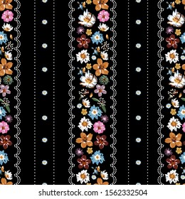Beautiful vertical stripe Liberty small flowers with polka dots lace seamless pattern ,Floral meadow background for textile, fabric, covers, wallpapers, print, gift wrap and scrapbook on black