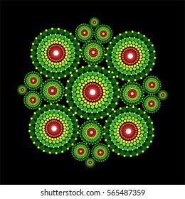 Beautiful vibrant colorful mandala pattern with dots