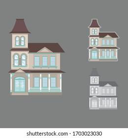 Beautiful Victorian mansion Vibrant colors Blue details Vintage house Vector illustration Ideal for web or print  Clip art
