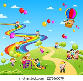 the beautiful view full of the children and colorful balloon